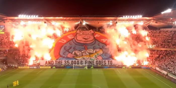 UEFA znowu zajęła się oprawą na Legii. To ta ze świnią. Kolejna kara jest nieunikniona (VIDEO)
